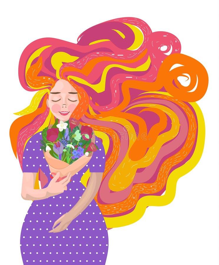 Härlig flicka med en bukett av blommor vektor illustrationer