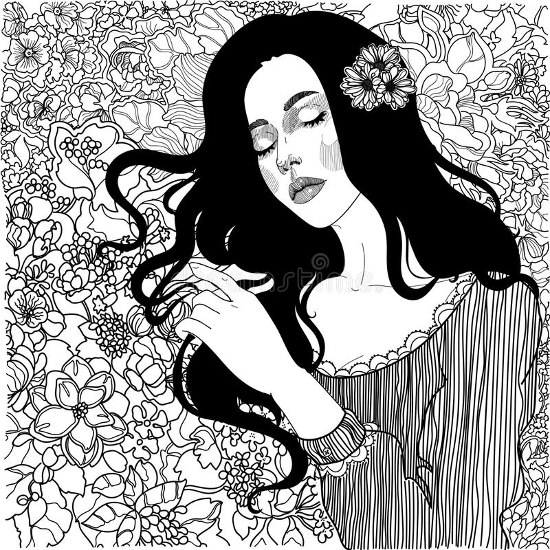 Härlig flicka med en bukett av lösa blommor stock illustrationer