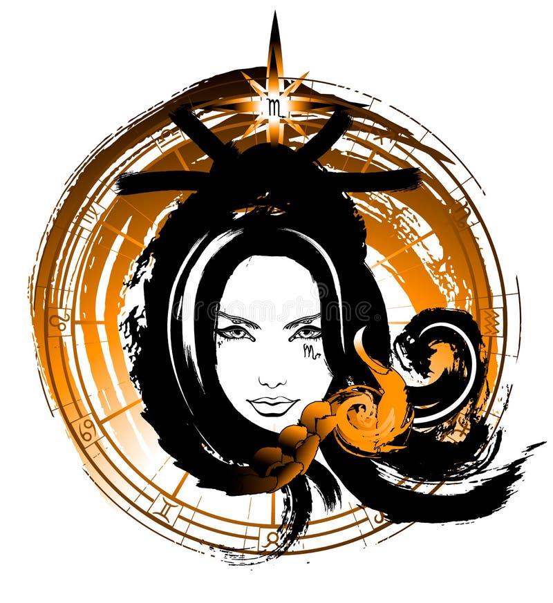 Härlig flicka med en slug blick royaltyfri illustrationer