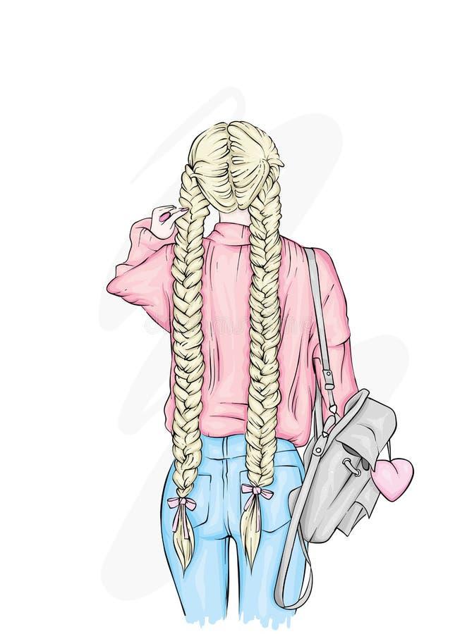 Härlig flicka med en stilfull ryggsäck, i jeans Mode, kläder och tillbehör för kvinna` s stock illustrationer