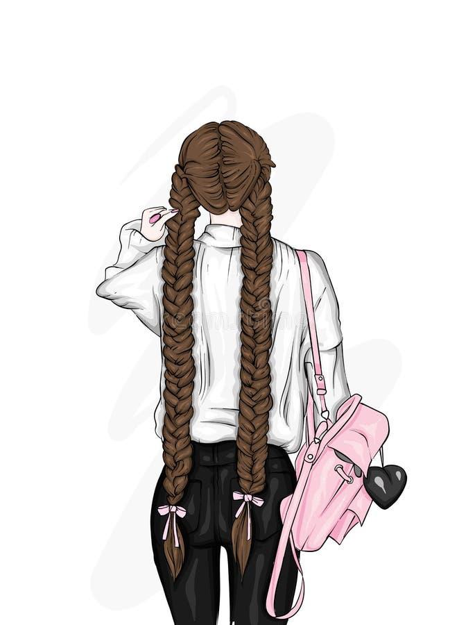Härlig flicka med en stilfull ryggsäck, i jeans Mode, kläder och tillbehör för kvinna` s också vektor för coreldrawillustration royaltyfri illustrationer