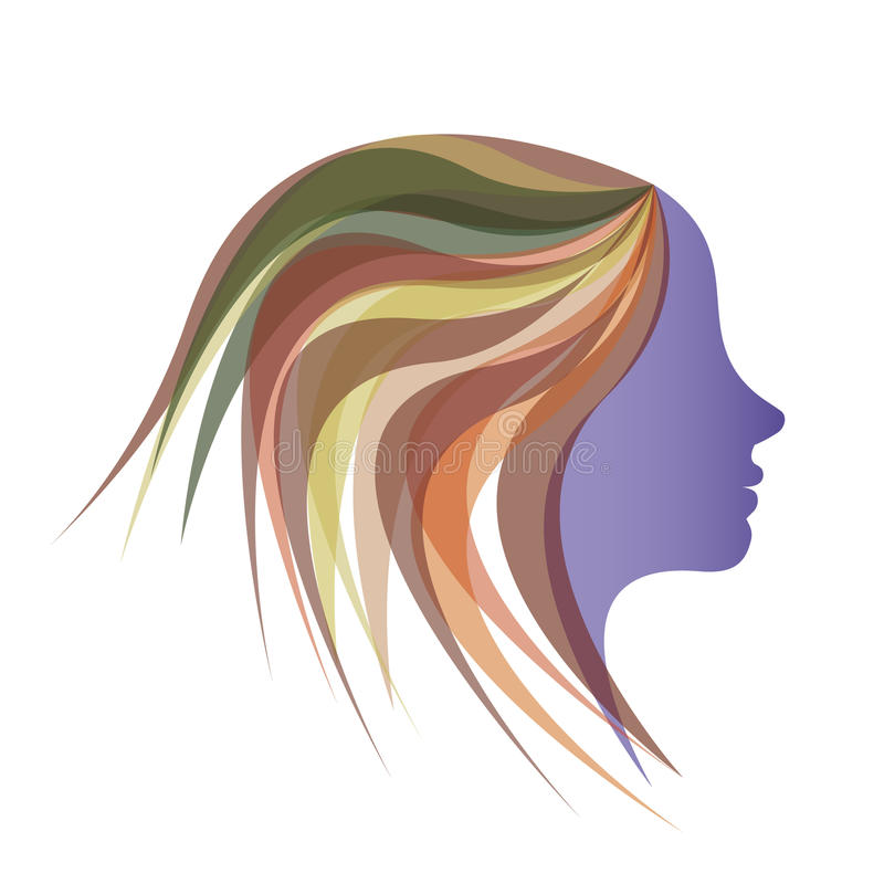 Härlig flicka med färgrikt hår royaltyfri illustrationer