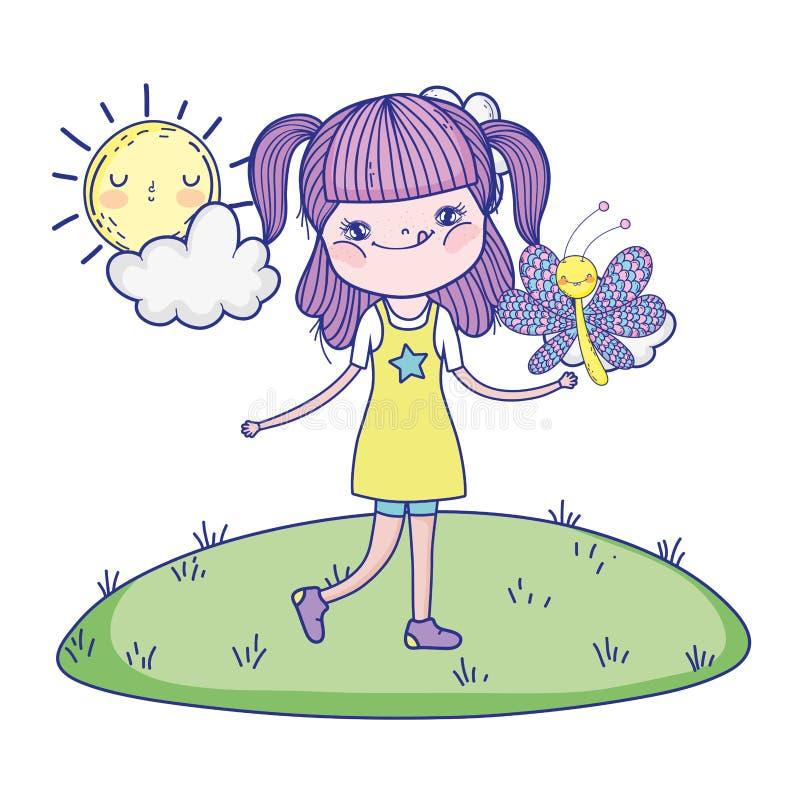 Härlig flicka med fjärilen i landskapet vektor illustrationer