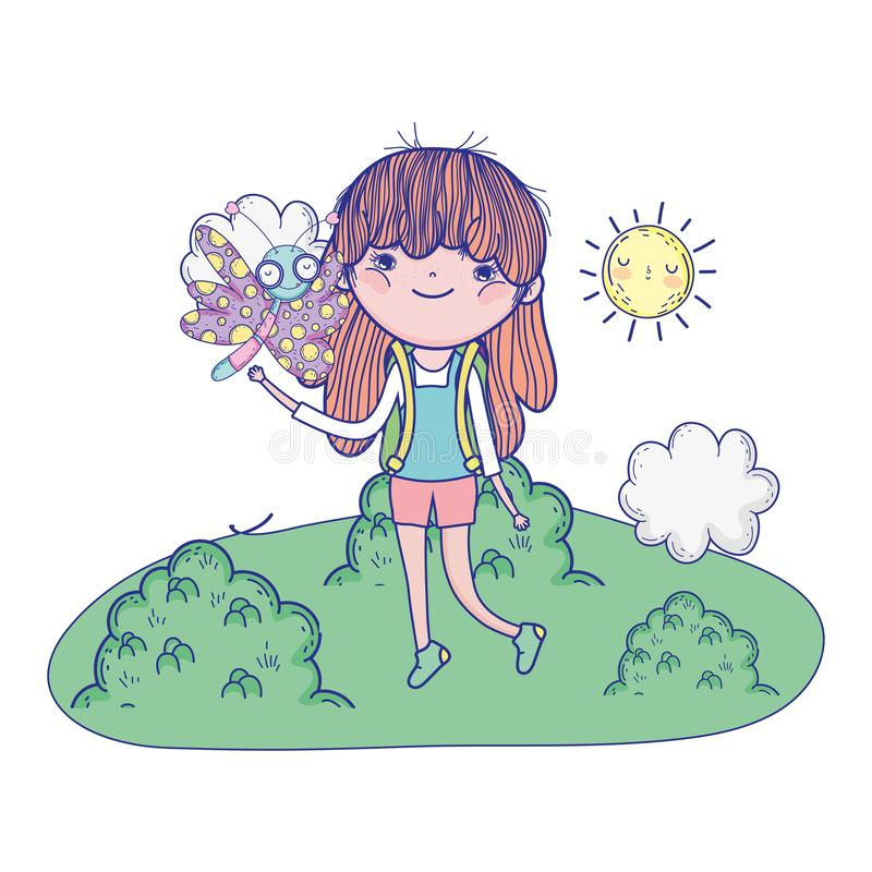 Härlig flicka med fjärilen i landskapet stock illustrationer