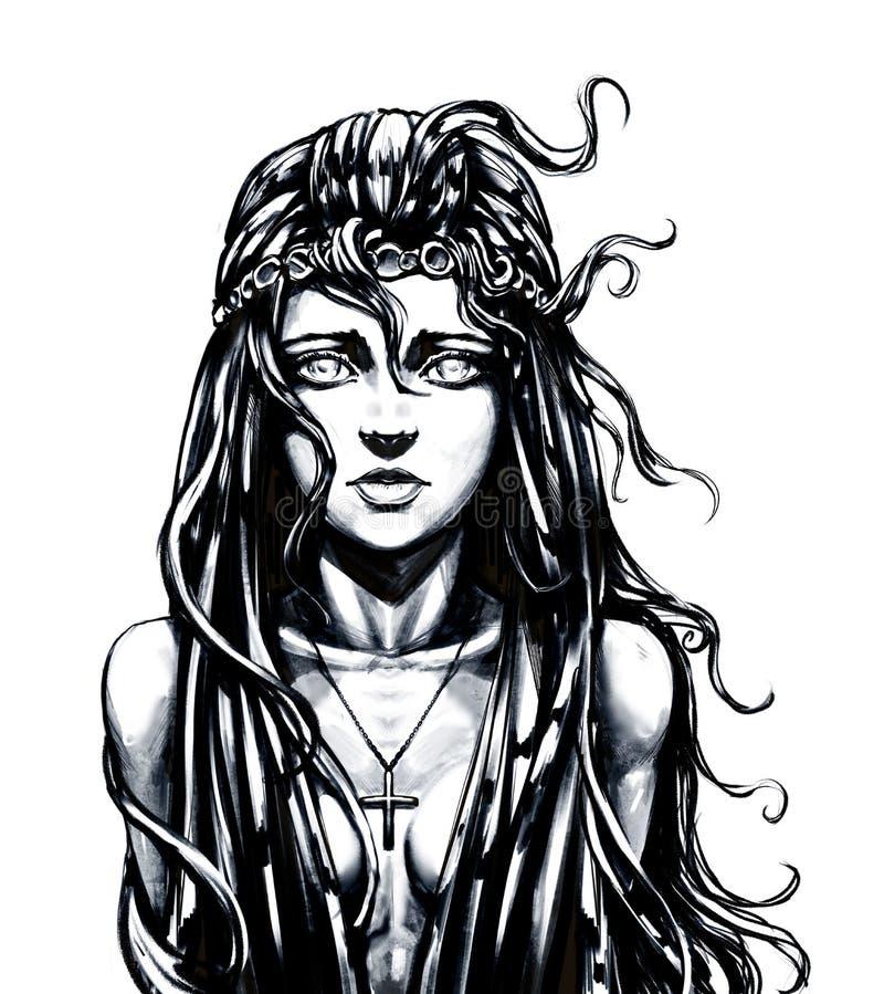 Härlig flicka med hår royaltyfri illustrationer