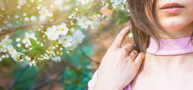 Härlig flicka med körsbärsröda blommor för vår, bakbelyst solsken royaltyfri foto
