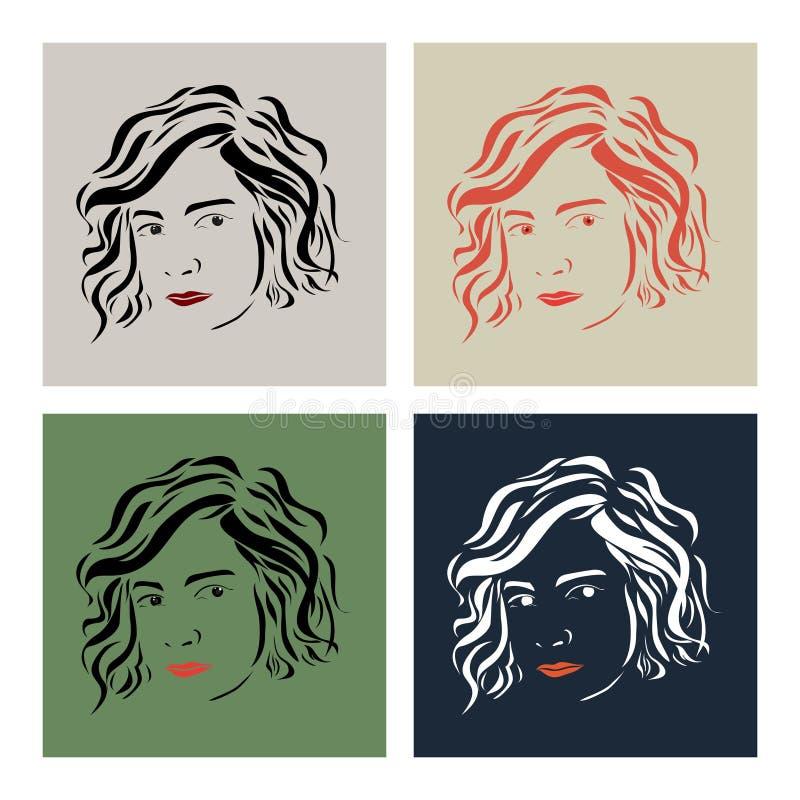 Härlig flicka med kort hår på tappningfärgbakgrund vektor illustrationer