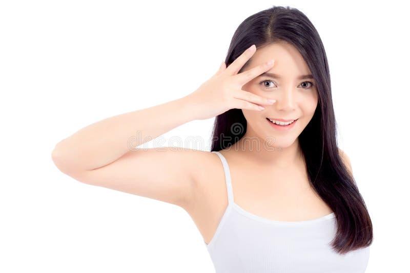 Härlig flicka med makeup, begrepp för kvinna- och hudomsorgskönhetsmedel/den attraktiva asiatiska flickan som smilling på den iso arkivfoton