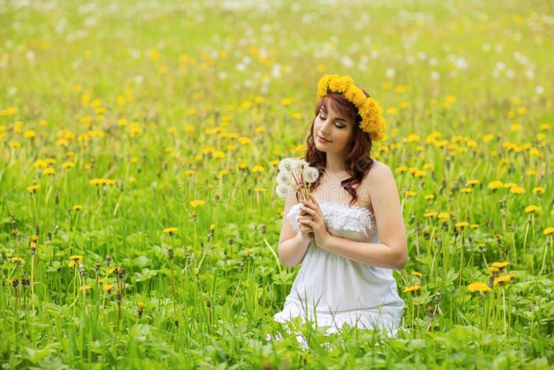 Härlig flicka med maskrosblommor i grönt fält fotografering för bildbyråer