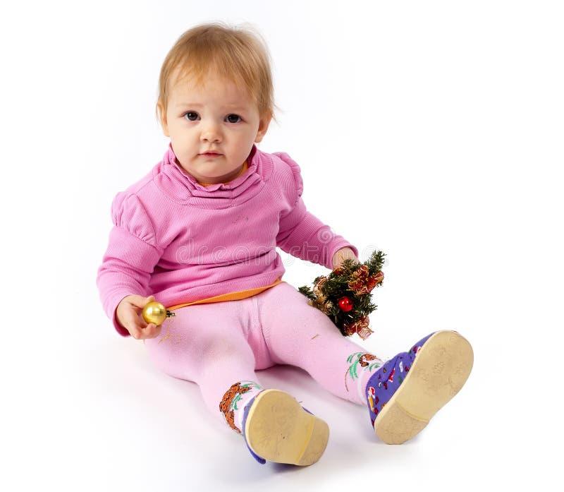 Härlig flicka med päls-treen royaltyfri fotografi