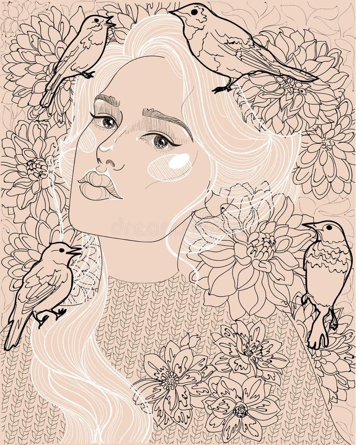 Härlig flicka med råttsvansen ut ur hår stock illustrationer