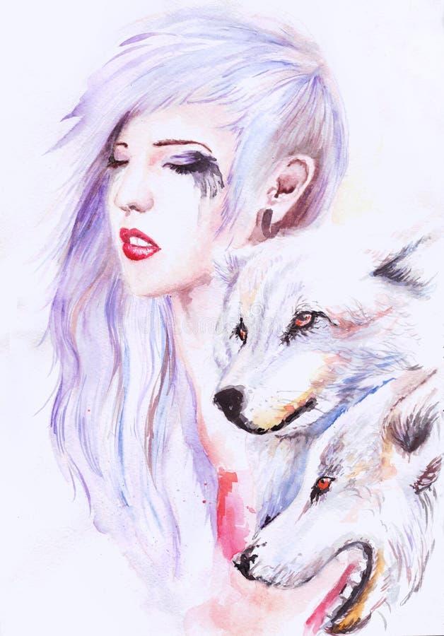 Härlig flicka med varger royaltyfri illustrationer