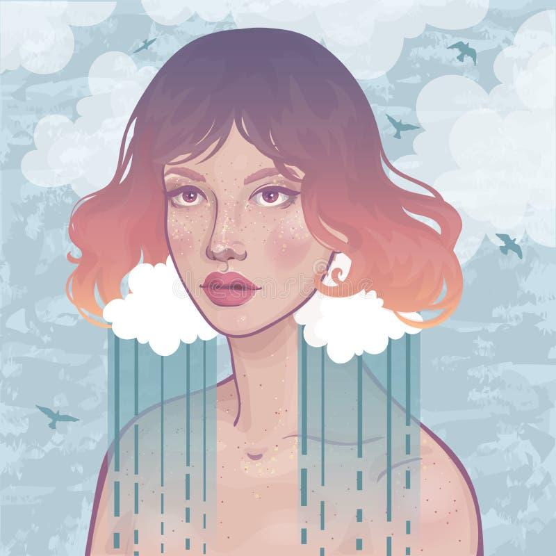 Härlig flicka och regnig himmel stock illustrationer