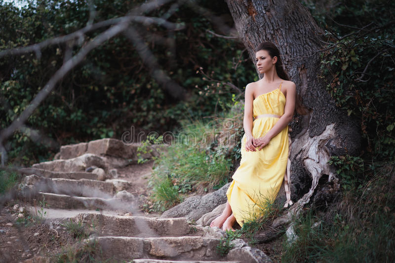Härlig flicka på naturen i ett gult klänningsammanträde på ett stort träd fotografering för bildbyråer