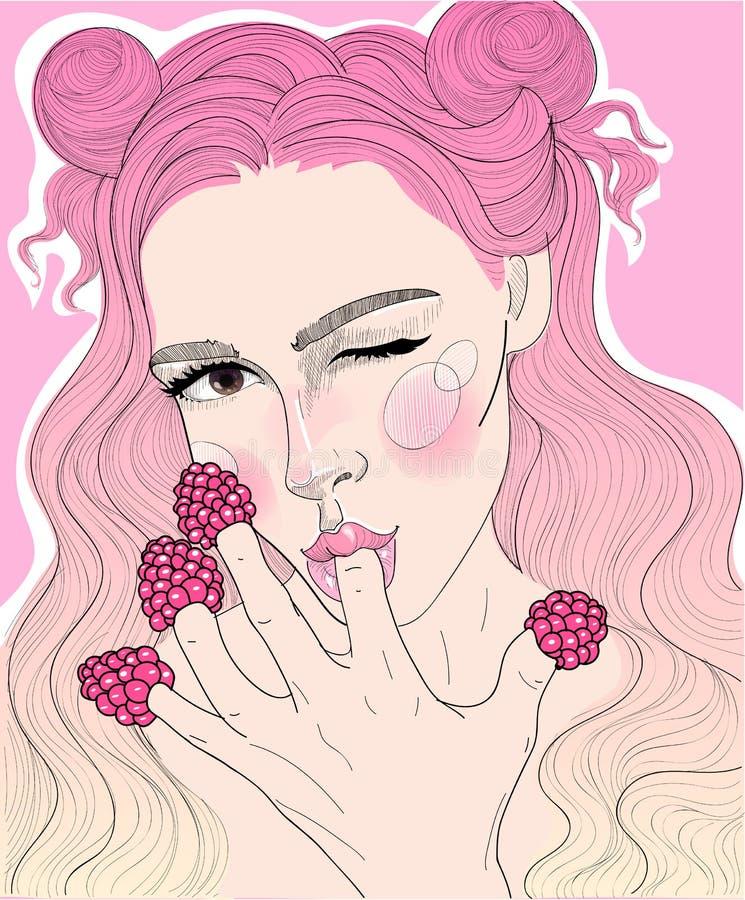 Härlig flicka som äter ett hallon royaltyfri illustrationer