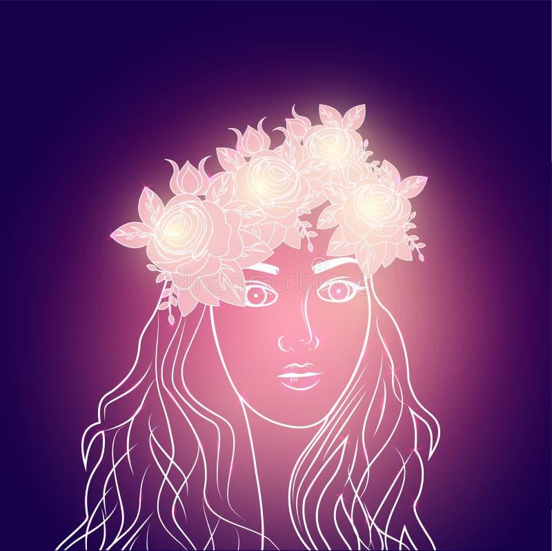 Härlig flicka som bär den blom- kronan på glödande purpurfärgad bakgrund stock illustrationer