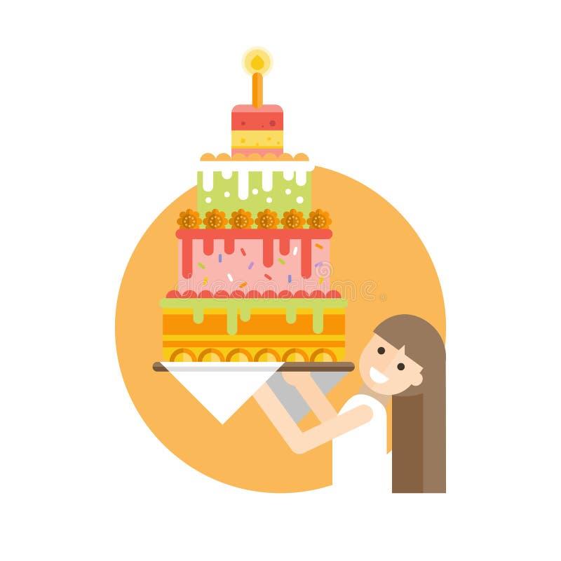 Härlig flicka som rymmer en stor läcker kaka royaltyfri illustrationer
