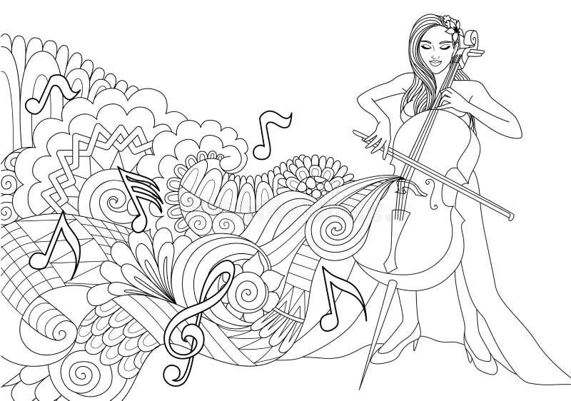 Härlig flicka som spelar violoncellen med den abstrakta musikvågen och anmärkningar för designbeståndsdel och sida för färgläggni vektor illustrationer