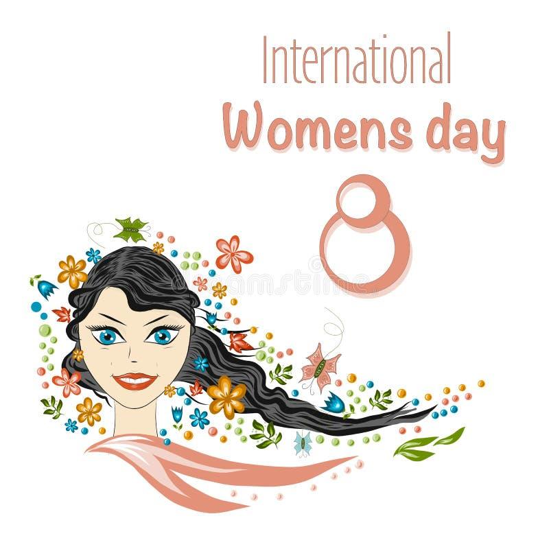 Härlig flickastående för vår Flickavåren, sommar, symboliserar att blomma, glädje Vykortmars 8, internationella kvinnors dag vektor illustrationer