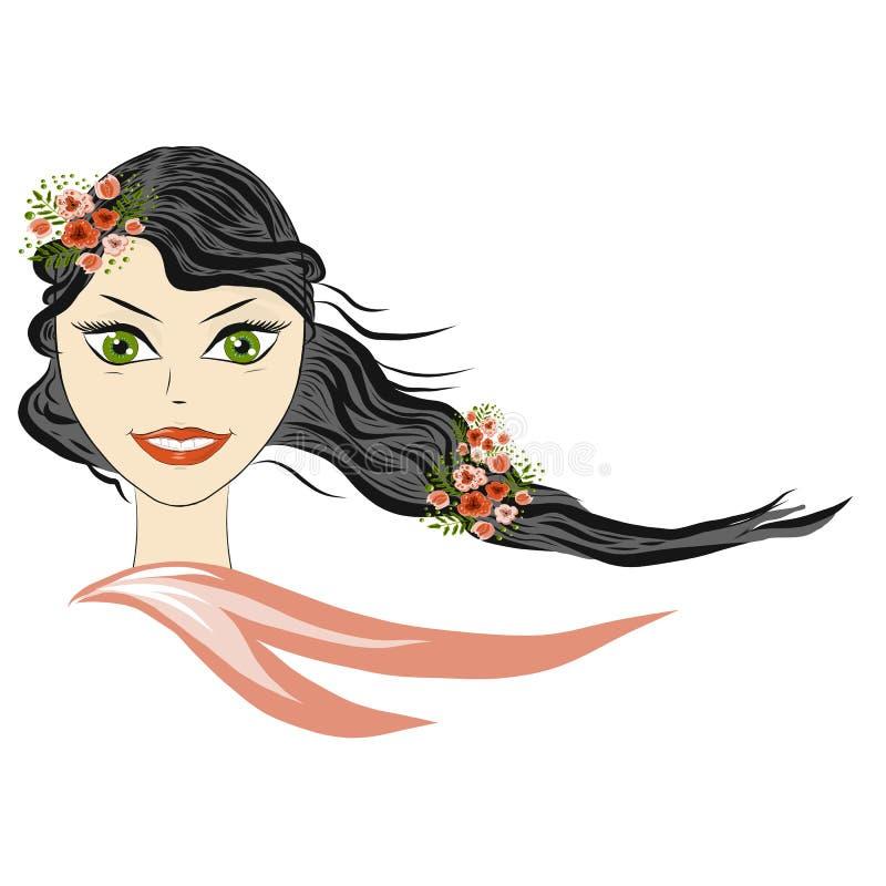 Härlig flickastående för vår Flickavåren, sommar, symboliserar att blomma, glädje Vykortmars 8, internationella kvinnors dag stock illustrationer