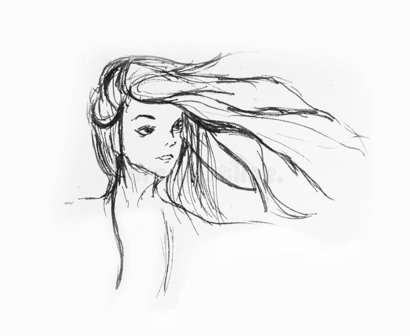 Härlig flickastående - hårflyg med vinden på en vitbok vektor illustrationer