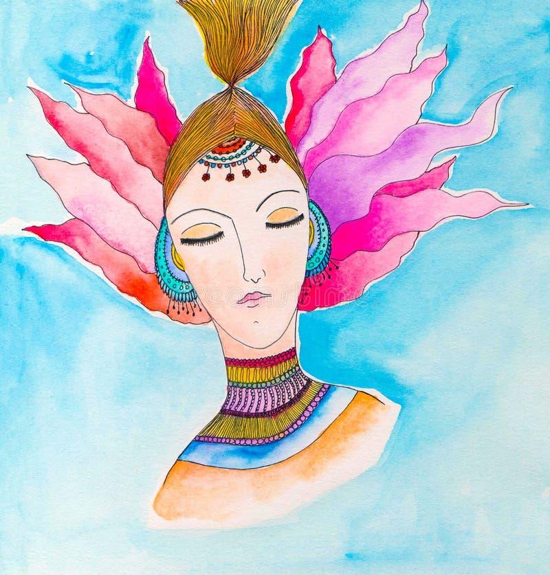 härlig flickastående Målad illustration för vattenfärg hand royaltyfri illustrationer