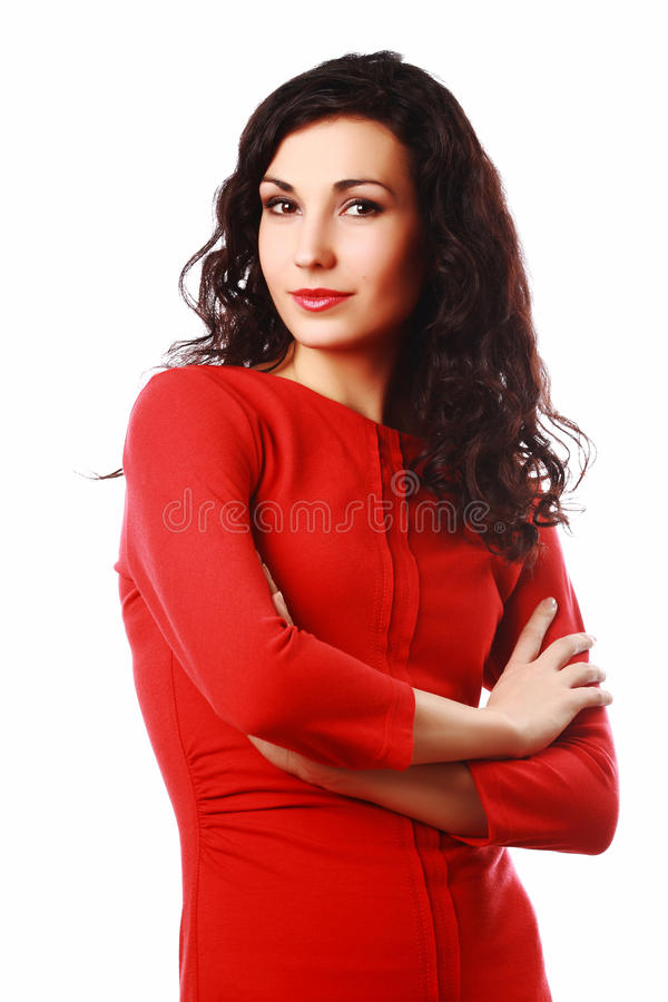 Härlig flirty brunetkvinna royaltyfria foton