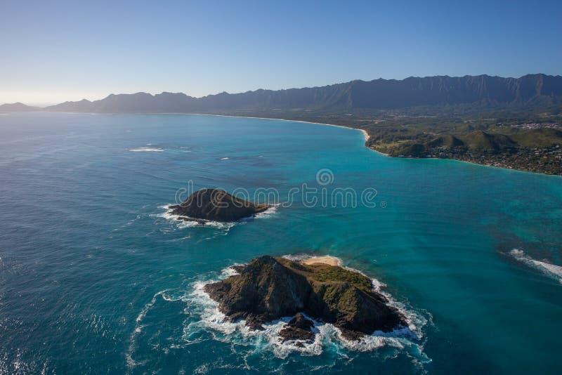 Härlig flyg- sikt av de Moke öarna Oahu Hawaii arkivbilder