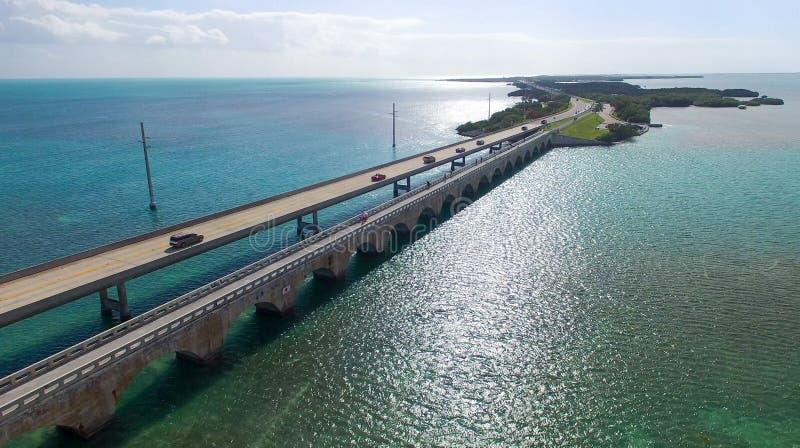 Härlig flyg- sikt av den Florida tangentbron arkivbild