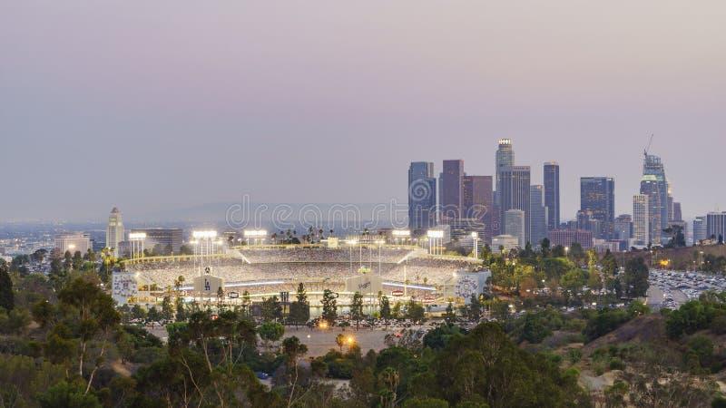 Härlig flyg- sikt av Dodger Stadium arkivbild
