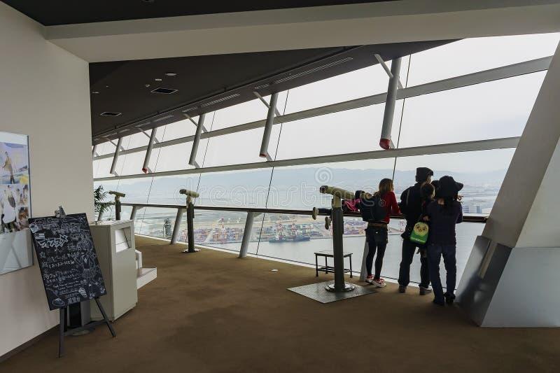 Härlig flyg- sikt av Osaka portcityscape royaltyfria bilder