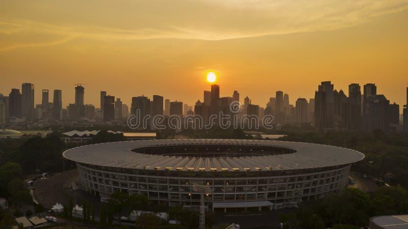 Härlig flyg- sikt av Senayan stadion royaltyfri foto