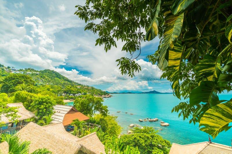 Härlig flyg- sikt av stranden och havet med kokosnötpalmträdet i kohsamuiön Thailand royaltyfri bild