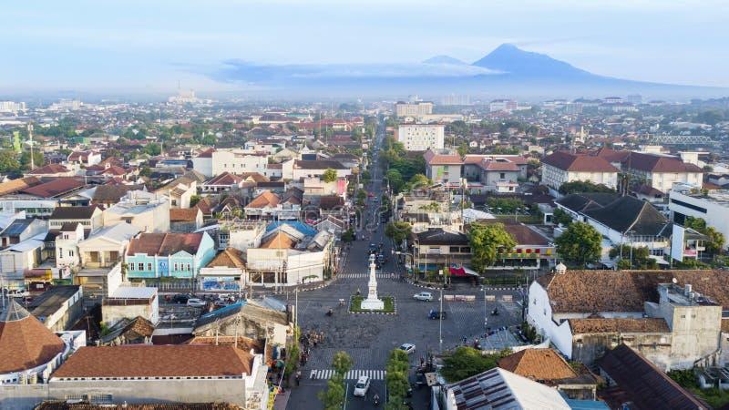 Härlig flyg- sikt av Tugu Yogyakarta arkivbilder