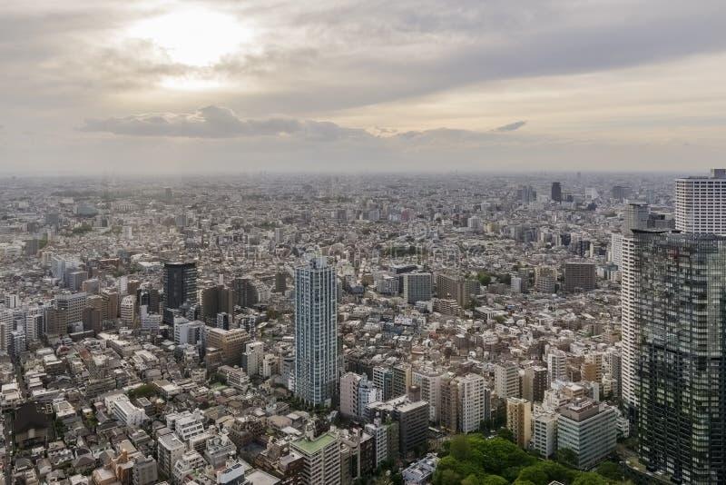 Härlig flyg- sikt av västra Tokyo område på solnedgången, Japan arkivfoto