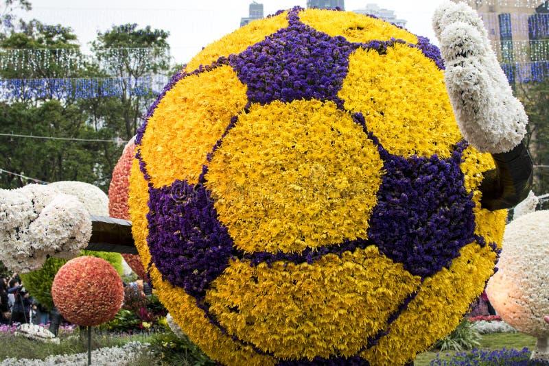 H?rlig fotboll som utg?ras av blomman i hk arkivfoto