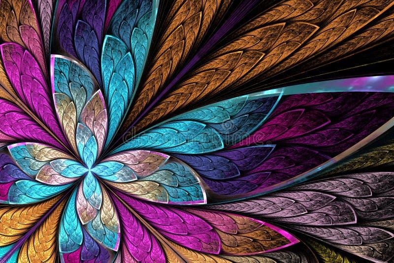 Härlig fractalblomma eller fjäril i st för målat glassfönster stock illustrationer