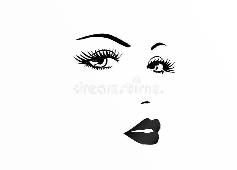 Härlig framsida av en kvinna, svartvit vektorillustration vektor illustrationer