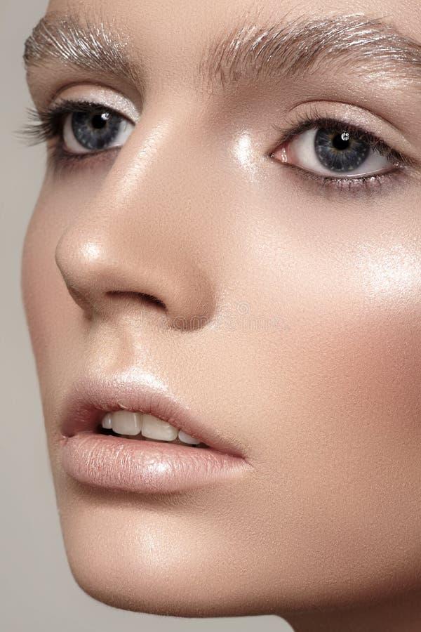 Härlig framsida för modemodell med vintersmink, snöögonbryn, skinande ren hud royaltyfria bilder