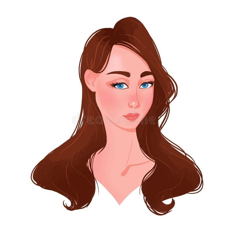Härlig framsida för ung kvinna med brunt hår vektor illustrationer