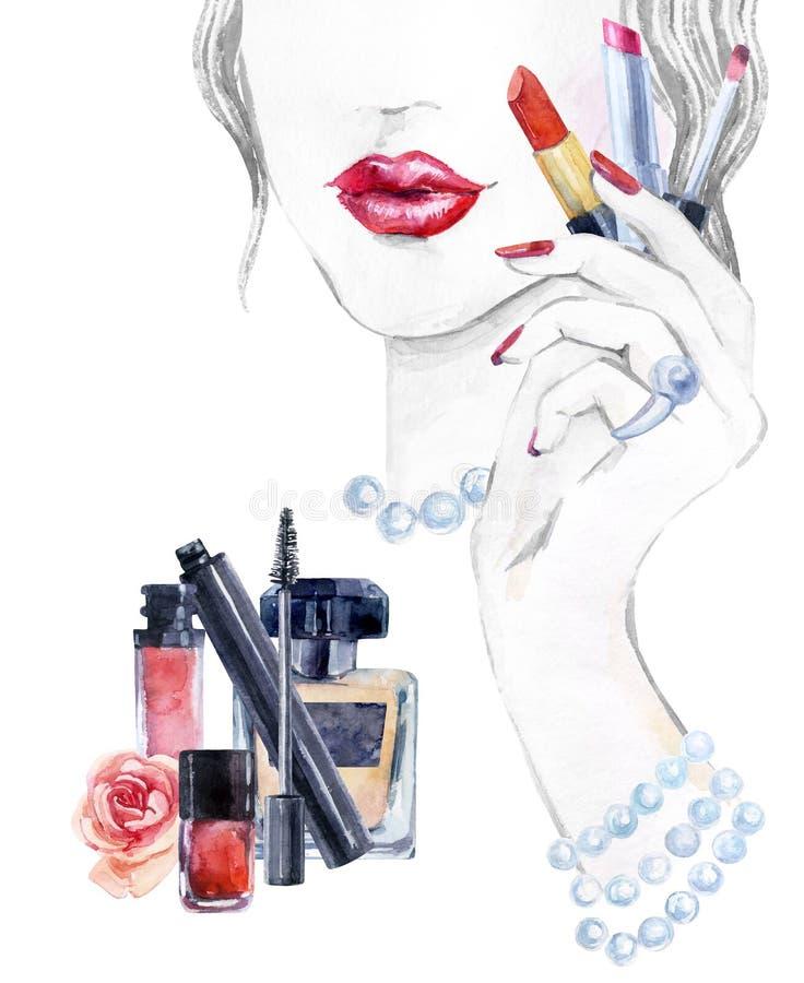 Härlig framsida för vattenfärg kvinnastående med läppstift royaltyfri illustrationer
