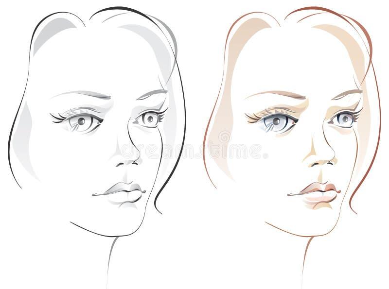 härlig framsidaflicka s för konstnär vektor illustrationer