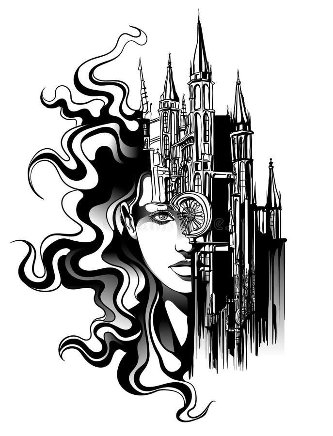 härlig framsidakvinna royaltyfri illustrationer