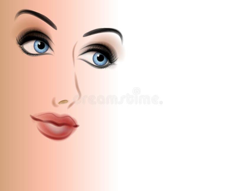 härlig framsidalutningkvinna vektor illustrationer
