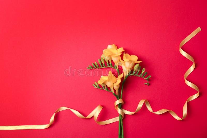 Härlig freesia blommar med bandet arkivfoton