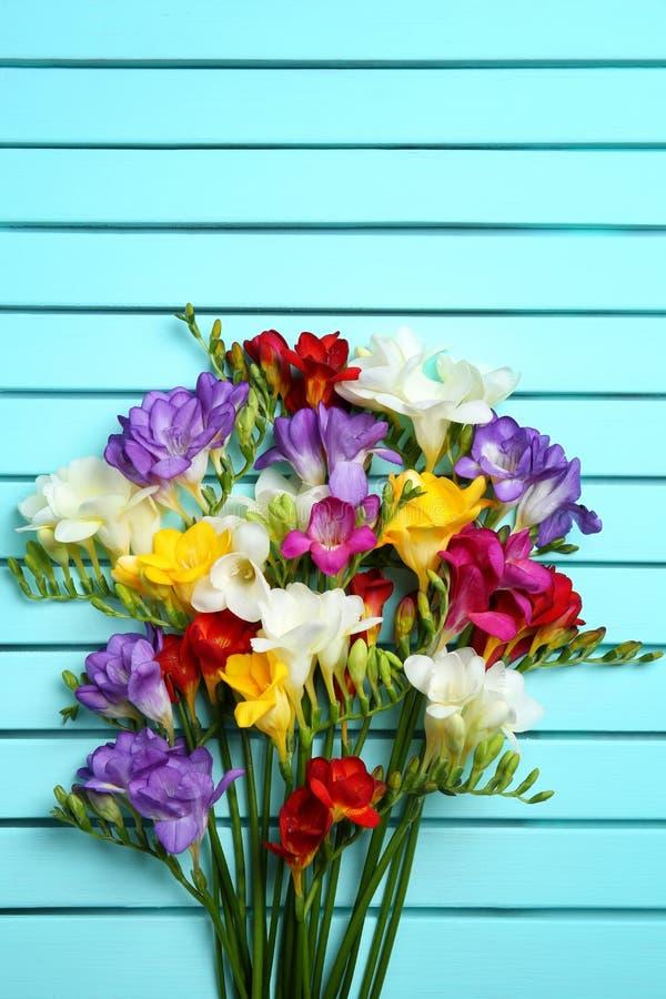 Härlig freesia blommar på bakgrund arkivbild