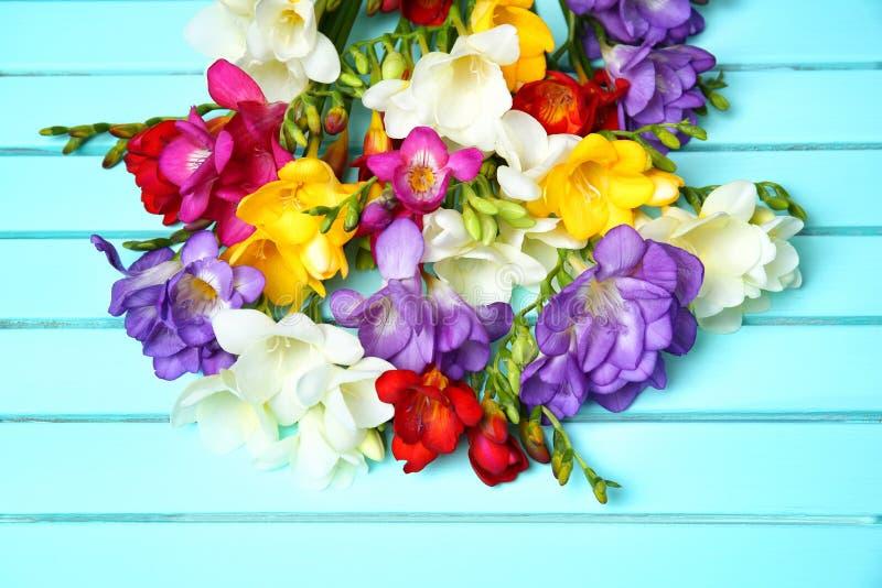 Härlig freesia blommar på träbakgrund royaltyfri fotografi