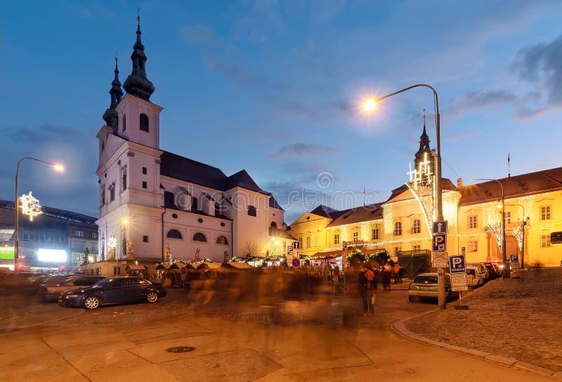 Härlig fyrkant i gammal stad av Brno, Tjeckien arkivbild