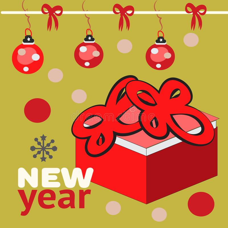 Härlig gåvaask på colofullbakgrund med bollar, illustration för nytt år vektor illustrationer