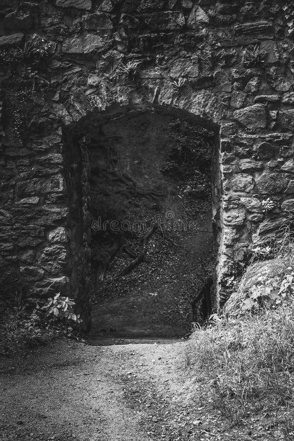 Härlig gammal slott i svartvit ingång till slotten arkivbild
